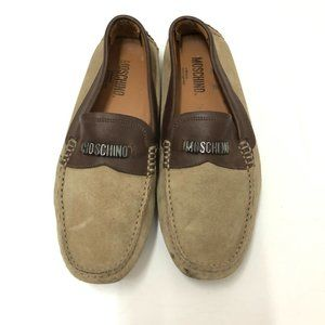 Moschino Men's Drivers Loafers Brown Suede & Leather